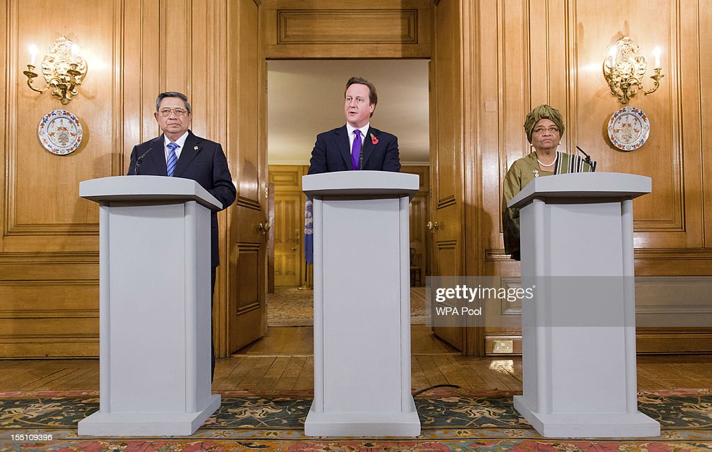 Indonesian President Susilo Bambang Yudhoyono, British Prime Minister David Cameron and Liberian President Ellen Johnson Sirleaf hold a joint press conference following a UN High Level panel meeting in number 10, Downing Street on November 1, 2012 in London, England. During President Yudhoyono and his wife's three day State Visit to the UK they will stay in Buckingham Palace and meet with members of the Royal Family, Prime Minister David Cameron and lay a wreath at the Grave of the Unknown Warrior in Westminster Abbey.