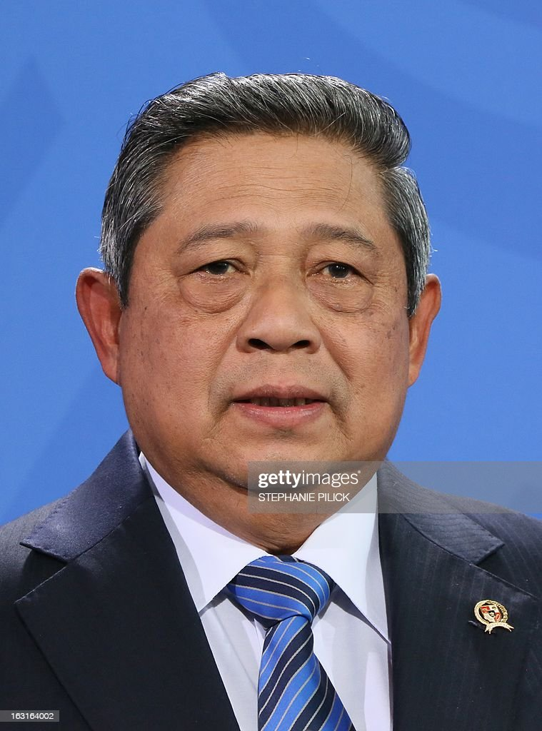 Indonesian President Susilo Bambang Yudhoyono gives a joint press conference with the German Chancellor (unseen) on March 5, 2013 in Berlin to open the ITB Berlin international travel trade show. Indonesia is this year's partner country of the fair running until March 10, 2013.