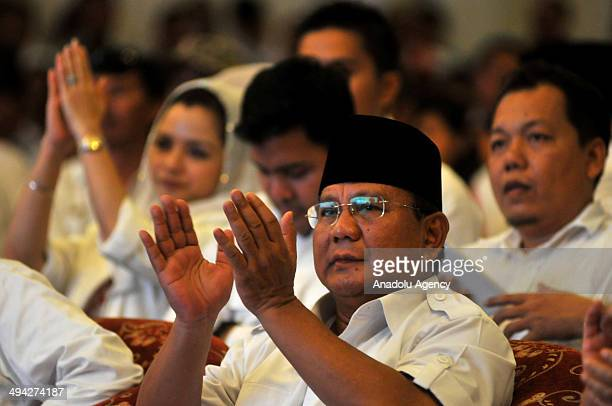 Indonesian presidential candidate and former Lieutenant General Prabowo Subianto meets with his supporters during a election meeting in Solo Central...
