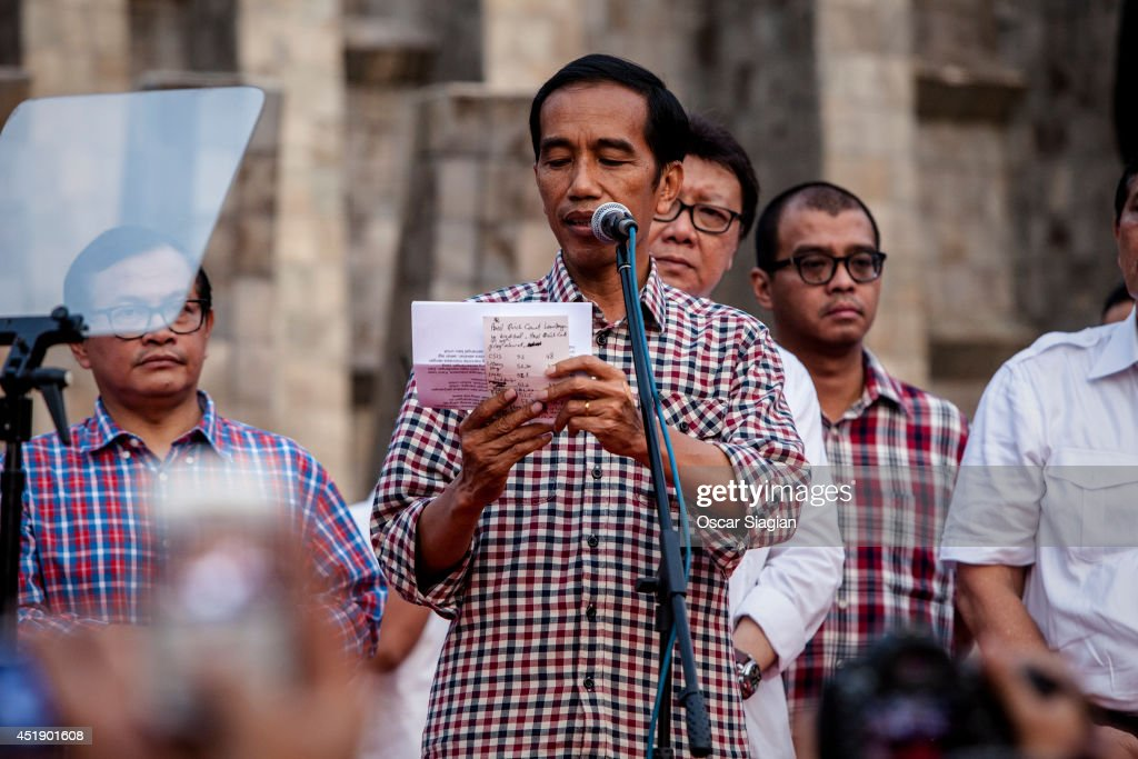 Indonesian Presidential Candidate Joko Widodo delivers a victory speech in the Indonesian Presidential election, although the vote counting is not complete, the race is very close, and the other Candidate Prabowo Subianto has also claimed victory in the race on July 9, 2014 in Jakarta, Indonesia. Election day in Indonesia sees locals take to the polls to chose between Joko Widodo and Prabowo Subianto as their next president. Recent polls have indicated a tightly fought contest, with allegations of corruption marring the process.