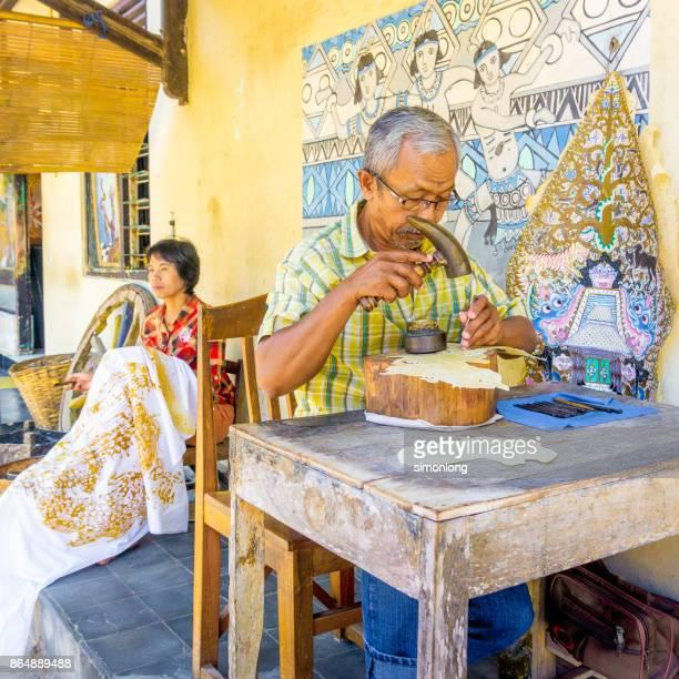 Indonesian Puppet Maker and Batik Maker