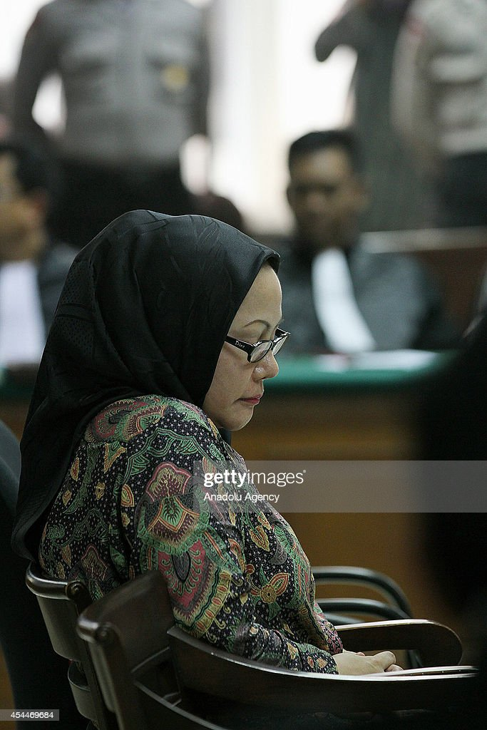 Indonesian Ratu Atut Chosiyah is seen during her trial in Jakarta, Indonesia on September 1, 2014. Indonesia's first female provincial leader, and head of one of the country's most powerful political dynasties, was jailed for four years on September 1, for bribing a top judge over an election dispute.