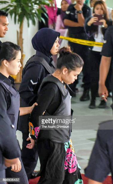 Indonesian Siti Aisyah leaves the Shah Alam court house on October 2 2017 in Kuala Lumpur Malaysia Court hearing begins for murdered Kim Jongnam half...