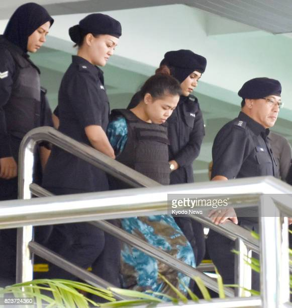 Indonesian Siti Aisyah leaves the Shah Alam High Court near Kuala Lumpur on July 28 after a pretrial hearing on her and Vietnamese Doan Thi Huong The...