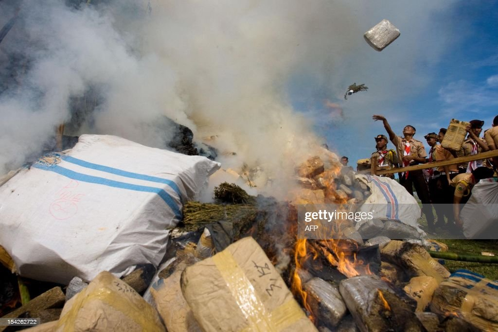 Indonesian students and police officials burn hundreds of bundles of marijuana in Banda Aceh on October 17, 2012. Aceh authorities destroyed about five tons of marijuana confiscated during recent anti-drug operations in Aceh province.