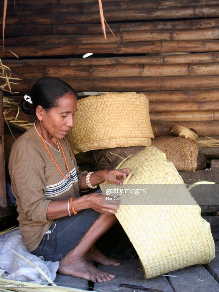 Indonesian Woman Basket Weaving : Stock Photo