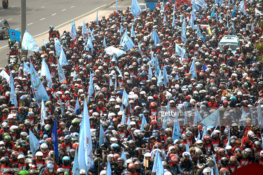 Indonesian workers take part in a rally during the International Workers Day in Jakarta, Indonesia, on May 1, 2016.