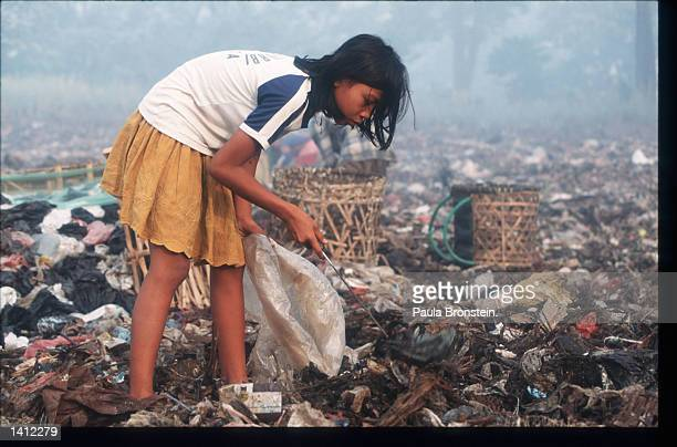 Indonesians pick through garbage at the Bekasi Dump November 15 1998 in Jakarta Indonesia The widening gap between the rich and the poor and the...