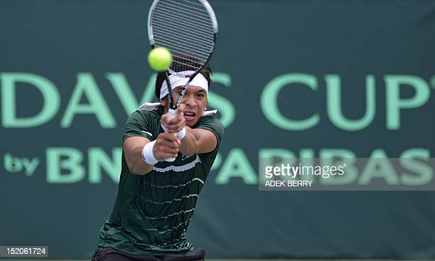 Indonesia's Christopher Rungkat plays a shot against Jeson Patrombon of the Philippines during the final round of the men's Davis Cup AsiaOceania...
