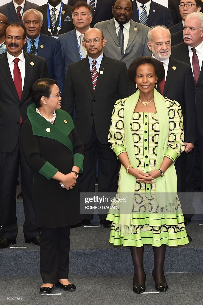Indonesia's Foreign Minister <a gi-track='captionPersonalityLinkClicked' href=/galleries/search?phrase=Retno+Marsudi&family=editorial&specificpeople=13680033 ng-click='$event.stopPropagation()'>Retno Marsudi</a> (front L) and South Africa's Foreign Minister <a gi-track='captionPersonalityLinkClicked' href=/galleries/search?phrase=Maite+Nkoana-Mashabane&family=editorial&specificpeople=3056332 ng-click='$event.stopPropagation()'>Maite Nkoana-Mashabane</a> (front R) pose for a group picture with foreign ministers and representatives for the Asian-African Conference ministerial meeting in Jakarta April 20, 2015. Asian and African leaders gather in Indonesia this week to mark 60 years since a landmark conference that helped forge a common identity among emerging states, but analysts say big-power rivalries will overshadow proclamations of solidarity.
