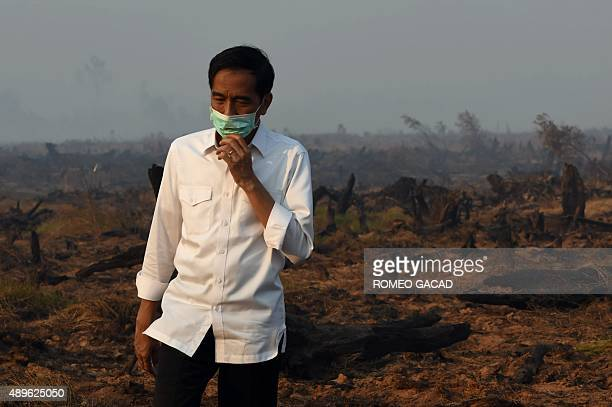 Indonesia's President Joko Widodo inspects a peatland clearing that was engulfed by fire during an inspection of a firefighting operation to control...
