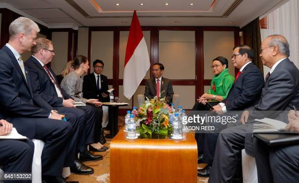 Indonesia's President Joko Widodo meets with New South Wales Premier Gladys Berejiklian with his delegation in Sydney on February 25 2017 Widodo...