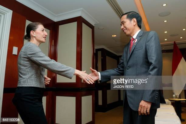 Indonesia's President Joko Widodo meets with New South Wales Premier Gladys Berejiklian in Sydney on February 25 2017 Widodo arrived in Sydney on a...