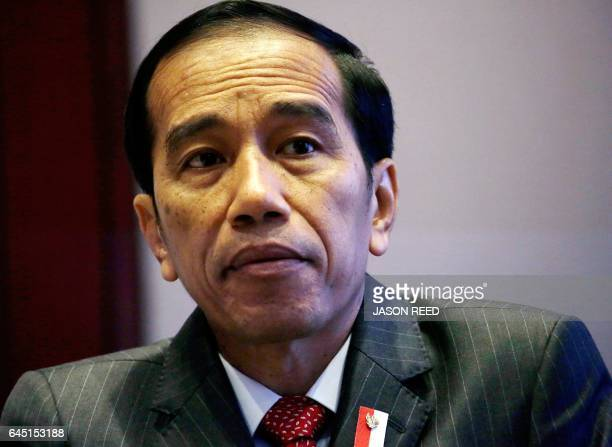 Indonesia's President Joko Widodo waits for the arrival of New South Wales Premier Gladys Berejiklian in Sydney on February 25 2017 Widodo arrived in...