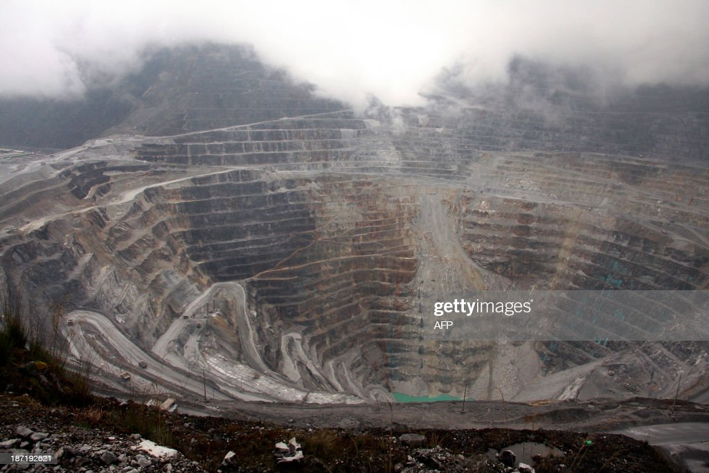 IndonesiaUSminingFreeportFEATURE Tthis photograph taken on August 16 2013 shows a general view of the Freeport McMoRan's Grasberg mining complex one...