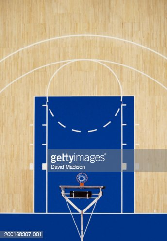Indoor basketball court, overhead view