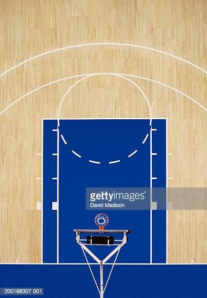 Indoor basketball court, overhead view