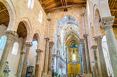 Indoor view in the amazing Cefalù Cathedral. Sicily, southern Italy.
