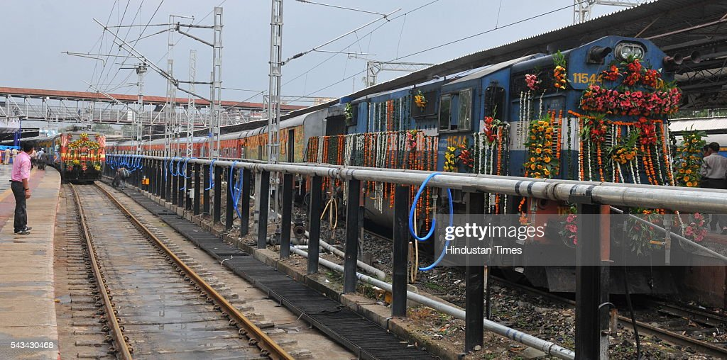 Indore Kochuveli weekly Express and Indore-Pune bi-weekly Express after being flagged of by Union Minister of State for Railways, Manoj Sinha and Lok Sabha speaker Sumitra Mahajan on June 28, 2016 in Indore, India.