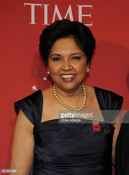 Indra K Nooyi Chairman and CEO of PepsiCo Inc arrives at Time Magazine's 100 Most Influential People in the World dinner on May 8 2008 in New York...