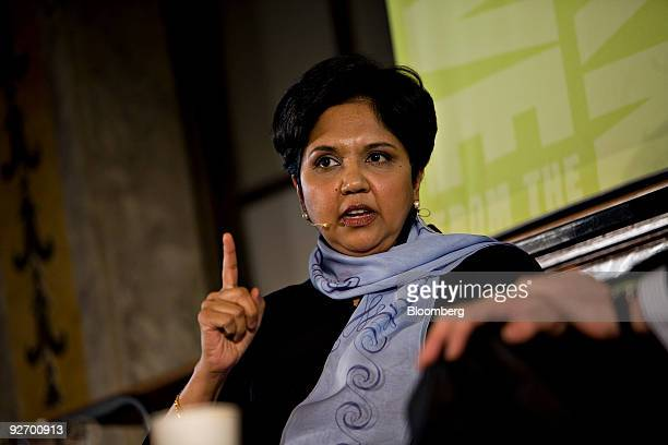 Indra Nooyi chairman and chief executive officer of PepsiCo participates in a panel discussion during an event at the New York Public Library in New...