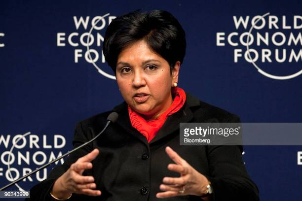 Indra Nooyi chairman and chief executive officer of PepsiCo Inc participates in a panel discussion on state leadership during day two of the 2010...
