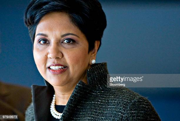 Indra Nooyi chairman and chief executive officer of PepsiCo Inc speaks to reporters following a PepsiCo investor meeting at Yankee Stadium in New...