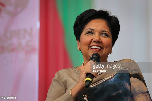 Indra Nooyi chairman and chief executive officer of PepsiCo speaks during the Aspen Ideas Festival in Aspen Colorado US on Monday June 30 2014 The...