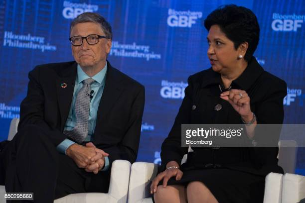 Indra Nooyi chief executive officer and chairman of Pepsico Inc left speaks while Bill Gates cofounder of the Bill and Melinda Gates Foundation...