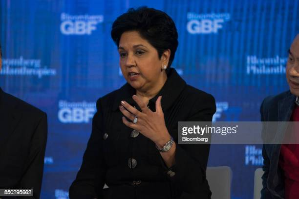 Indra Nooyi chief executive officer and chairman of Pepsico Inc speaks during the Bloomberg Global Business Forum in New York US on Wednesday Sept 20...