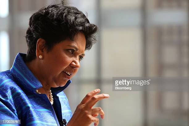Indra Nooyi chief executive officer of PepsiCo Inc gestures as she speaks during an interview at the Myanmar International Convention Center during...