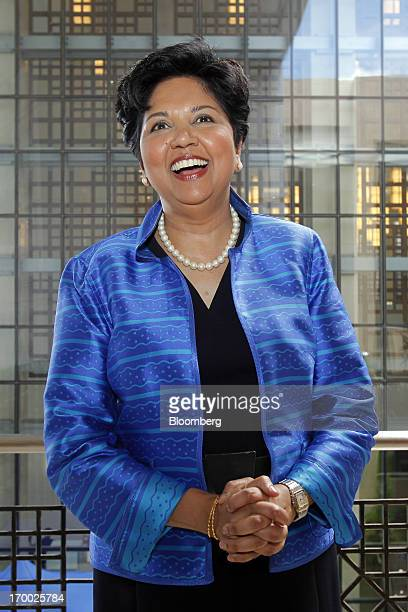Indra Nooyi chief executive officer of PepsiCo Inc poses for a photograph at the Myanmar International Convention Center during the World Economic...