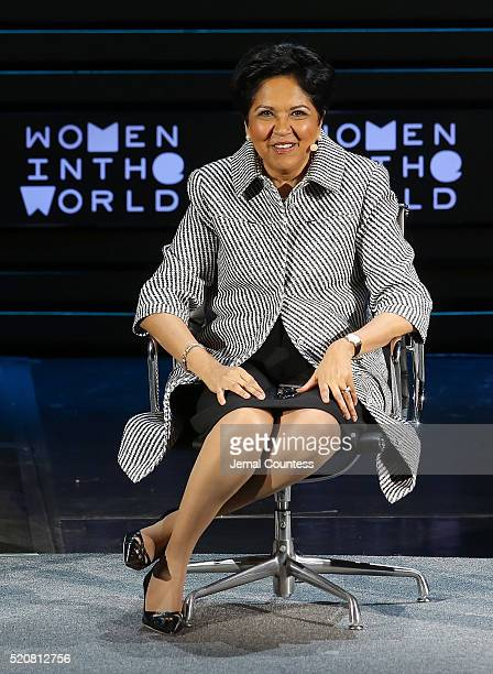 Indra Nooyi speaks onstage at Indra Nooyi in Conversation with AnneMarie Slaughter during Tina Brown's 7th Annual Women In The World Summit Day 2 at...