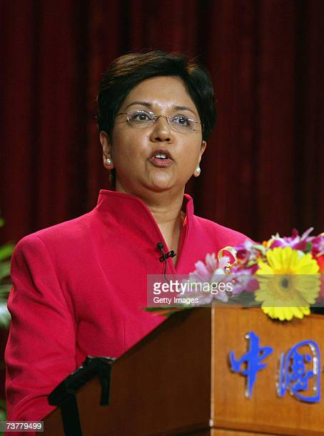 Indra Nooyi the CEO of PepsiCo Inc delivers a speech at the Graduate University of Chinese Academy of Sciences on April 3 2007 in Beijing China Nooyi...