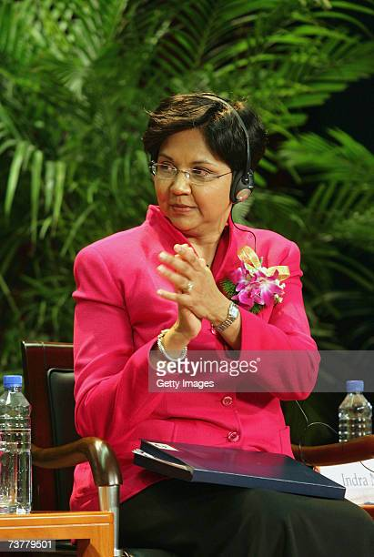 Indra Nooyi the CEO of PepsiCo Inc takes part in a discussion at the Graduate University of Chinese Academy of Sciences on April 3 2007 in Beijing...