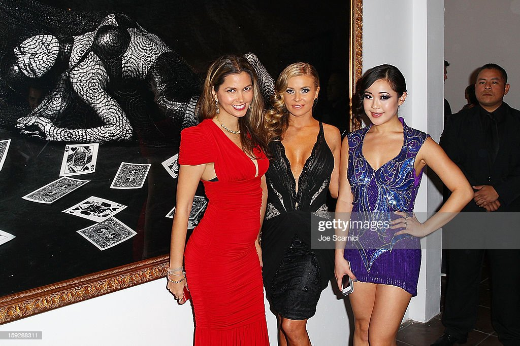 Indrani, Carmen Electra and Koala attend Markus + Indrani Icons book launch party hosted by Carmen Electra benefiting The Trevor Project at Merry Karnowsky Gallery & Graffiti on January 10, 2013 in Los Angeles, California.