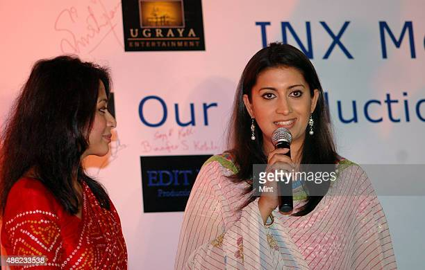 Indrani Mukerjea Founder CEO INX Media Pvt Ltd with television actor Smriti Irani during a press conference of INX Media Press Conference at Taj...