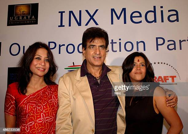 Indrani Mukerjea Founder CEO INX Media Pvt Ltd with television producer Ekta Kapoor and Jeetendra during a press conference of INX Media Press...