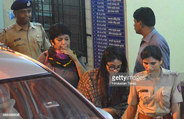 Indrani Mukerjea's daughter Vidhie Mukerjea arrives at Khar Police Station in connection with Sheena Bora murder case on September 4 2015 in Mumbai...