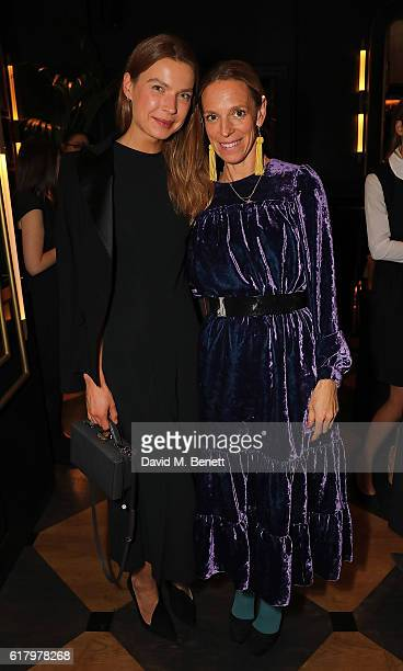 Indre Roberts and Tiphaine De Lussy attend a private dinner hosted by Hikari Yokoyama to celebrate the Harper's Bazaar charity auction with Paddle8...