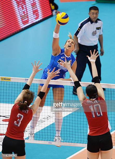 Indre Sorokaite of Italy in action during day one of the FIVB World Grand Prix Sapporo 2013 match between Japan and Italy at Hokkaido Prefectural...
