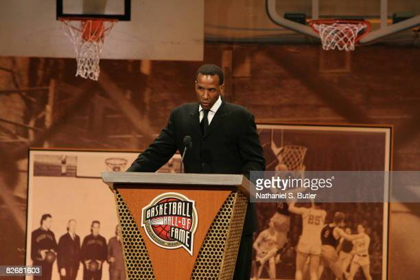 Inductee Adrian Dantley speaks during the 2008 Hall of Fame Enshrinement Ceremony on September 5 2008 at the Basketball Hall of Fame in Springfield...