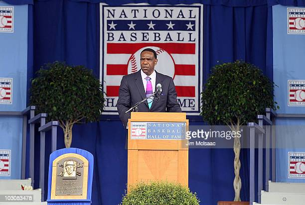 2010 inductee Andre Dawson gives his speech at Clark Sports Center during the Baseball Hall of Fame induction ceremony on July 25 20010 in...