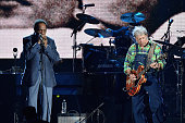 Inductee Billy Boy Arnold and Elvin Bishop of the Paul Butterfield Blues Band performs onstage during the 30th Annual Rock And Roll Hall Of Fame...