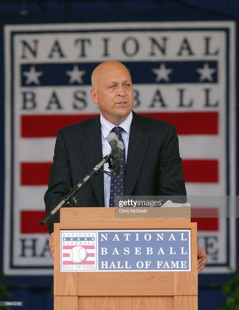 2007 inductee Cal Ripken Jr. gives his acceptance speech at Clark Sports Center during the Baseball Hall of Fame induction ceremony on July 29, 2007 in Cooperstown, New York.