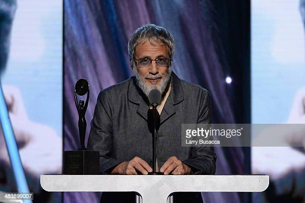 Inductee Cat Stevens speaks onstage at the 29th Annual Rock And Roll Hall Of Fame Induction Ceremony at Barclays Center of Brooklyn on April 10 2014...
