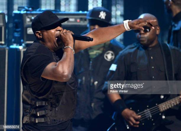 Inductee Chuck D of Public Enemy performs onstage at the 28th Annual Rock and Roll Hall of Fame Induction Ceremony at Nokia Theatre LA Live on April...