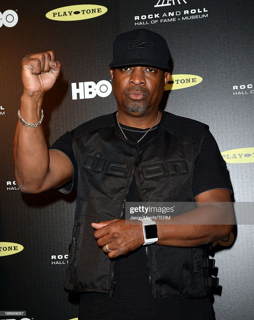 Inductee <a gi-track='captionPersonalityLinkClicked' href=/galleries/search?phrase=Chuck+D&family=editorial&specificpeople=212935 ng-click='$event.stopPropagation()'>Chuck D</a> of Public Enemy poses in the press room at the 28th Annual Rock and Roll Hall of Fame Induction Ceremony at Nokia Theatre L.A. Live on April 18, 2013 in Los Angeles, California.
