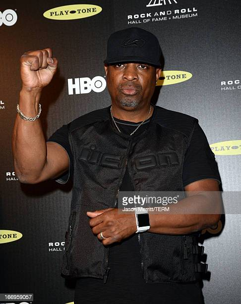 Inductee Chuck D of Public Enemy poses in the press room at the 28th Annual Rock and Roll Hall of Fame Induction Ceremony at Nokia Theatre LA Live on...