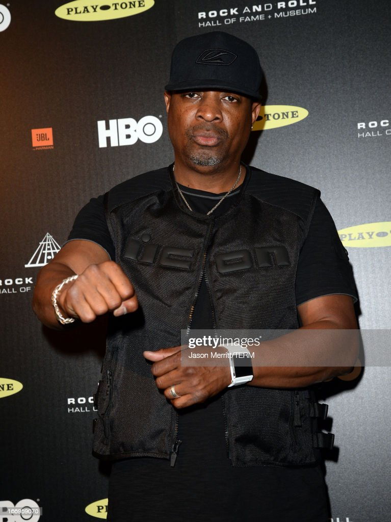 Inductee Chuck D of Public Enemy speaks in the press room at the 28th Annual Rock and Roll Hall of Fame Induction Ceremony at Nokia Theatre L.A. Live on April 18, 2013 in Los Angeles, California.